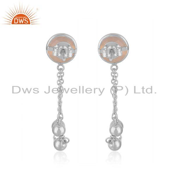 Suppliers Rose Chalcedony Gemstone Handmade 925 Sterling Silver Chain Earring Suppliers