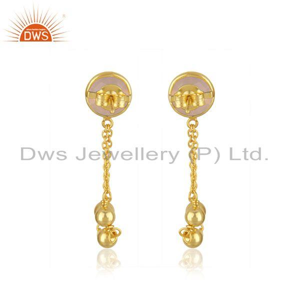 Suppliers Rose Chalcedony Gemstone Gold Plated 925 Silver Chain Pendant Wholesale