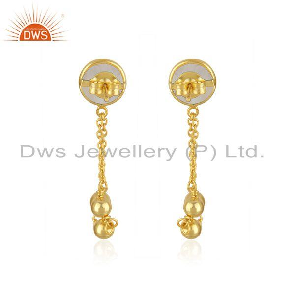 Suppliers Rainbow Moonstone Gold Plated 925 Silver Chain Earring Wholesaler in India