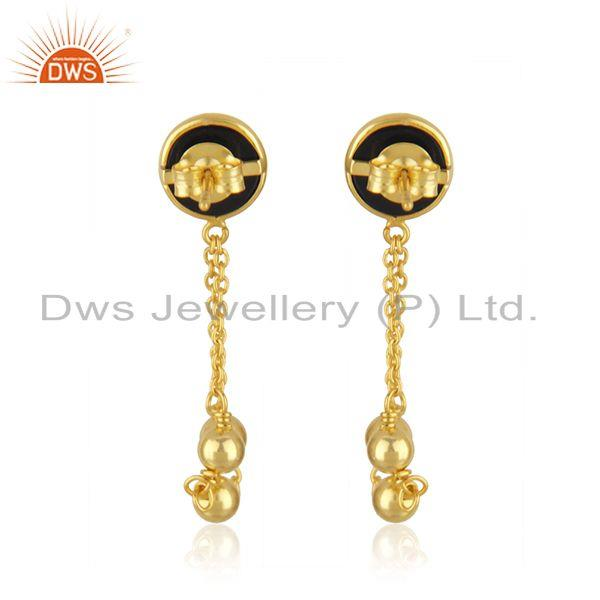 Suppliers Black Onyx Gemstone 925 Silver Designer Gold Plated Earrings Jewelry