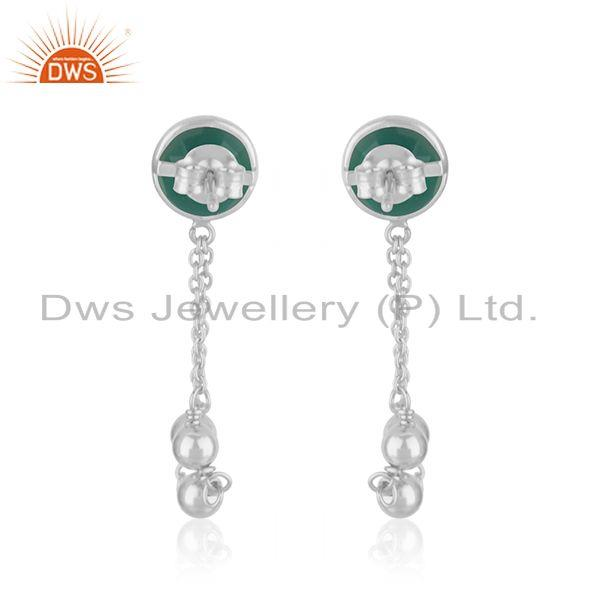 Suppliers Green Onyx Gemstone Fine Sterling Silver Chain Earring Manufacturer India