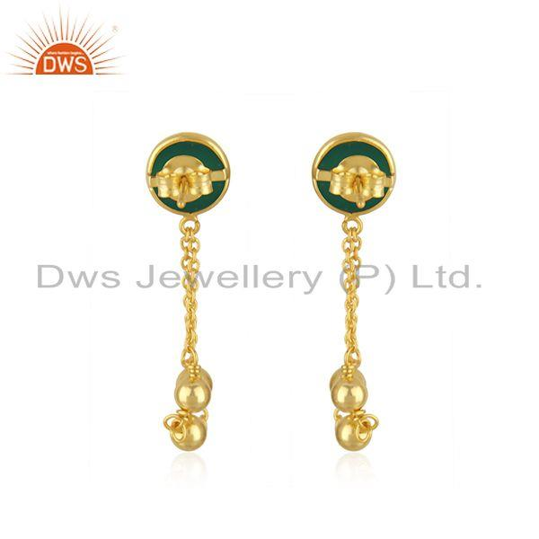 Suppliers Designer Gold Plated Silver Womens Green Onyx Earrings Jewelry