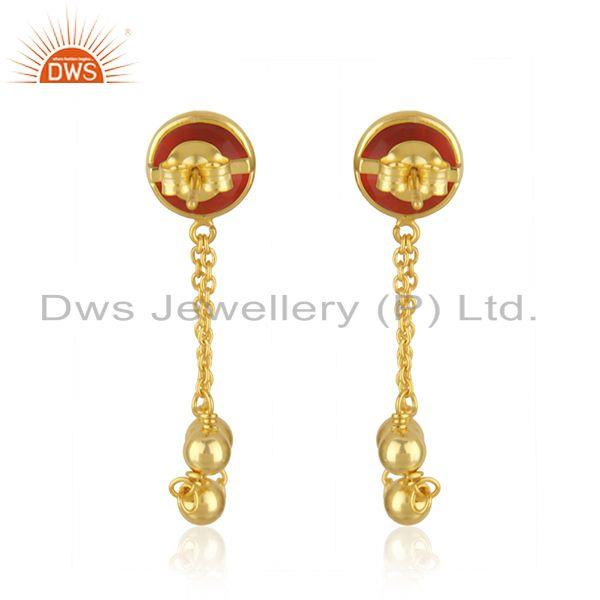 Suppliers 14k Gold Plated Silver Red Onyx Gemstone Earrings Jewelry Supplier