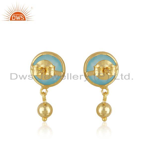 Suppliers Manufacturer Aqua Chalcedony Gemstone Silver Gold Plated Earrings Jewelry
