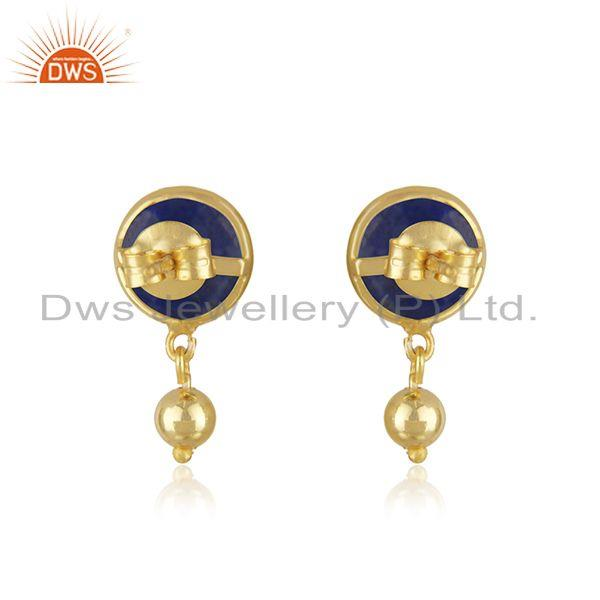 Suppliers Lapis Lazuli Gemstone Gold Plated 925 Silver Drop Earring Manufacturer in Jaipur
