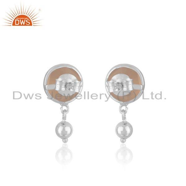 Suppliers Handmade Fine Sterling Silver Rose Chalcedony Gemstone Drop Earring Manufacturer