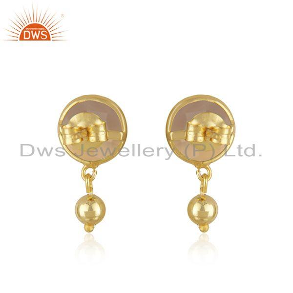 Suppliers Rose Chalcedony Gemstone Earring Gold Plated Silver Earrings Jewelry