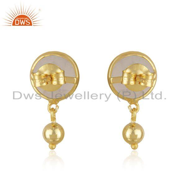 Suppliers Rainbow Moonstone Gemstone Gold Plated Silver Designer Earring Jewelry