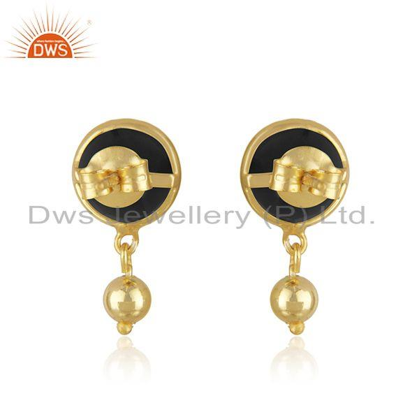 Suppliers Designer Silver Gold Plated Black Onyx Gemstone Earrings Jewelry Supplier