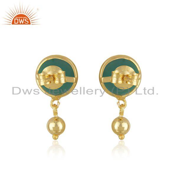 Suppliers Designer Silver Gold Plated Green Onyx Gemstone Earrings Jewelry