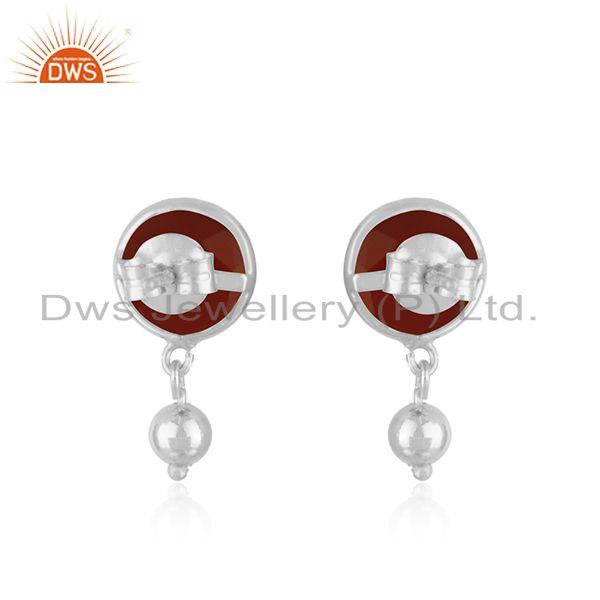 Suppliers Natural Red Onyx Gemstone Earring Indian Designer Earrings Silver Jewelry