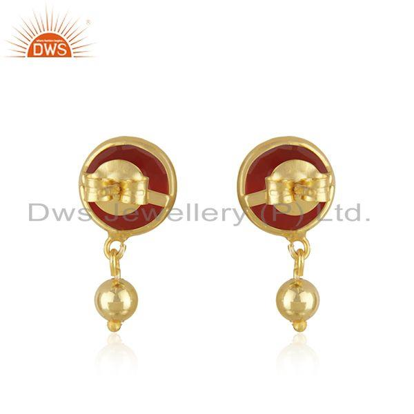 Suppliers Red Onyx Gemstone Gold Plated Sterling Silver Drop Earring Manufacturer