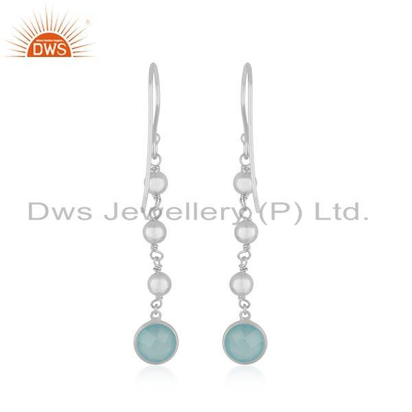 Suppliers Aqua Chalcedony Gemstone Fine Sterling Silver Earring Manufacturer India