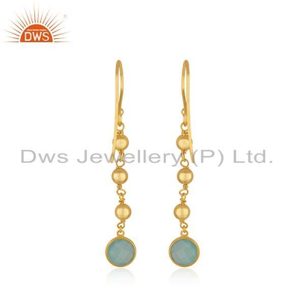 Suppliers Handmade Gold Plated Silver Gold Plated Aqua Chalcedony Earrings Jewelry