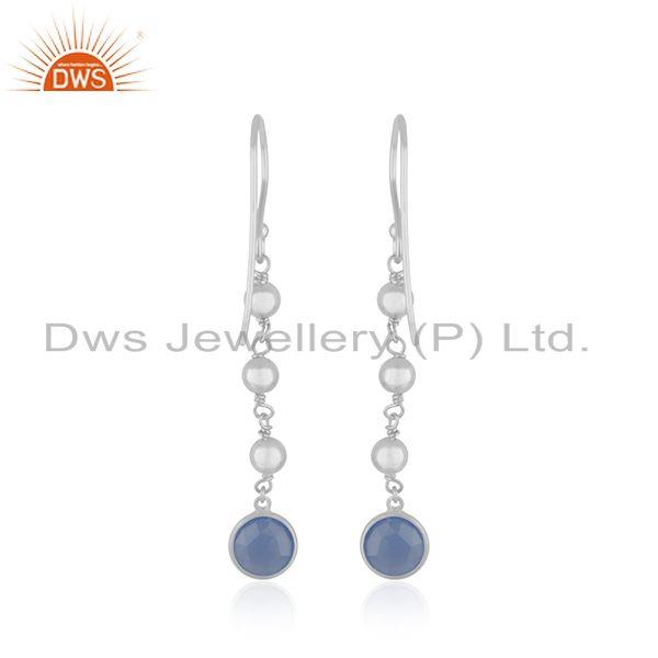 Suppliers Blue Chalcedony Gemstone Fine Sterling Silver Earring Wholesaler India