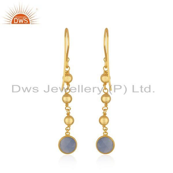 Suppliers Indian Blue Chalcedony Designer Gold Plated Silver Earrings Jewelry