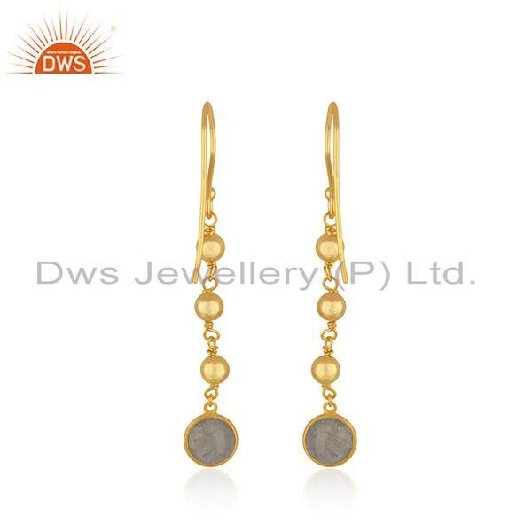 Suppliers Labradorite Gemstone Yellow Gold Plated 925 Silver Earring Manufacturer in India