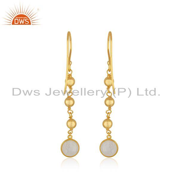 Suppliers Raibow Moonstone Gold Plated 925 Silver Handmade Earring Manufacturer India