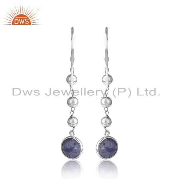 Designer of New arrival white rhodium plated silver tanzanite earring jewelry