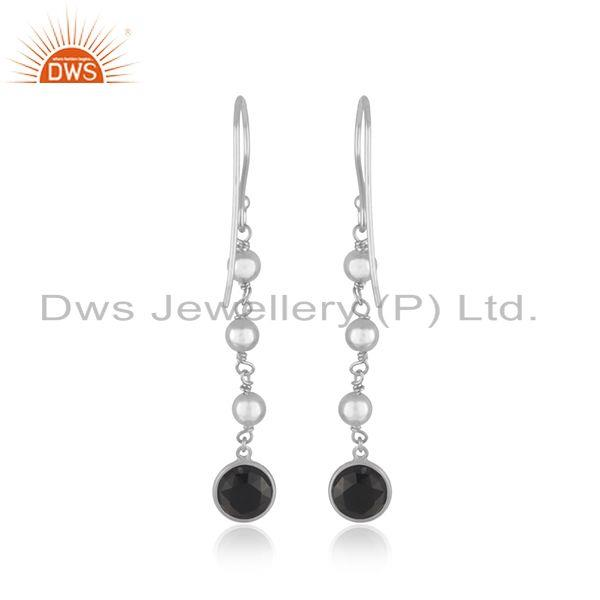 Suppliers Black Onyx Gemstone Fine Sterling Silver Handmade Earring Manufacturer India
