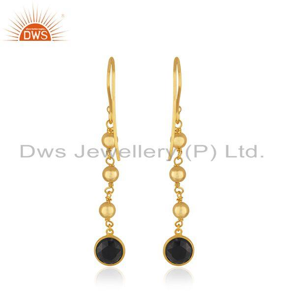 Suppliers Yellow Gold Plated 925 Silver Black Onyx Gemstone Earring Wholesaler India