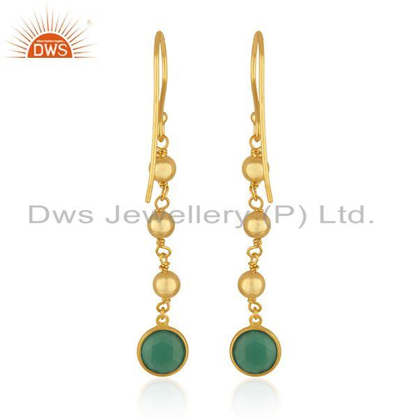 Suppliers Designer Silver Gold Plated Silver Green Onyx Earrings Jewelry