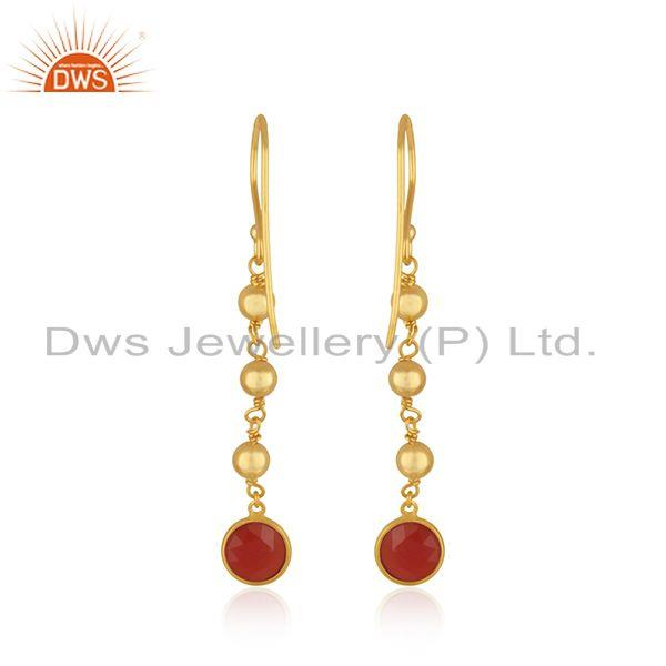 Suppliers Red Onyx Gemstone Gold Plated 925 Silver Beaded Earring Manufacturer in Jaipur