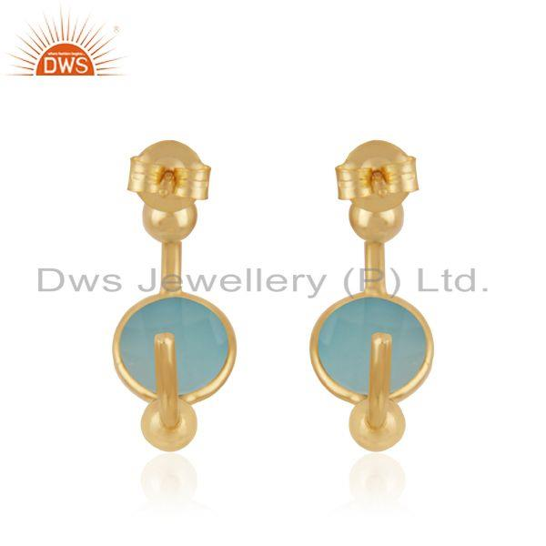Suppliers Handmade Designer Gold Plated Silver Aqua Chalcedony Earrings Jewelry