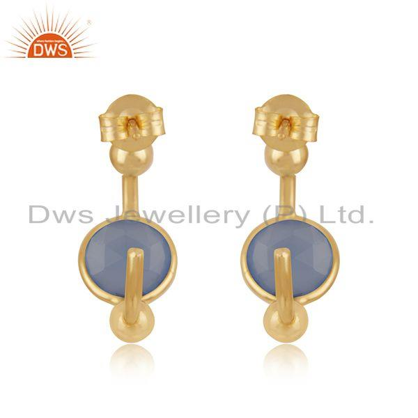 Suppliers Blue Chalcedony Gemstone Gold Plated 925 Silver Hoop Earring Manufacturer Jaipur