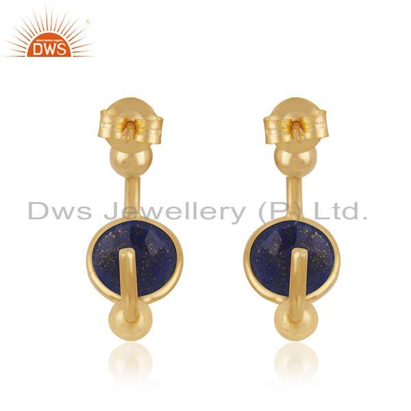 Suppliers Lapis Lazuli Gemstone 925 Sterling Silver Gold Plated Hoop Earring Supplier