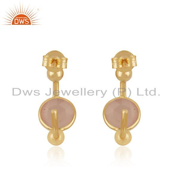 Suppliers Rose Chalcedony Gemstone 925 Silver Gold Plated Hoop Earring for Womens