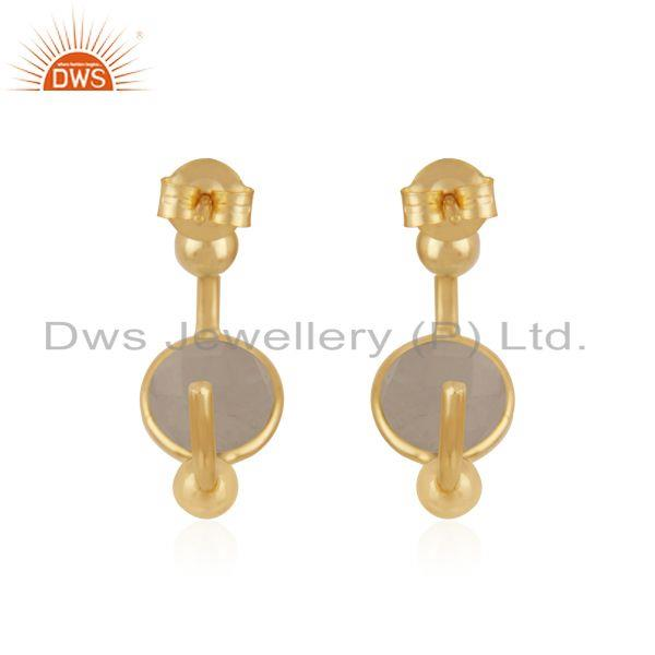 Suppliers Rainbow Moonstone Gold Plated 925 Silver Designer Hoop Earring Manufacturers