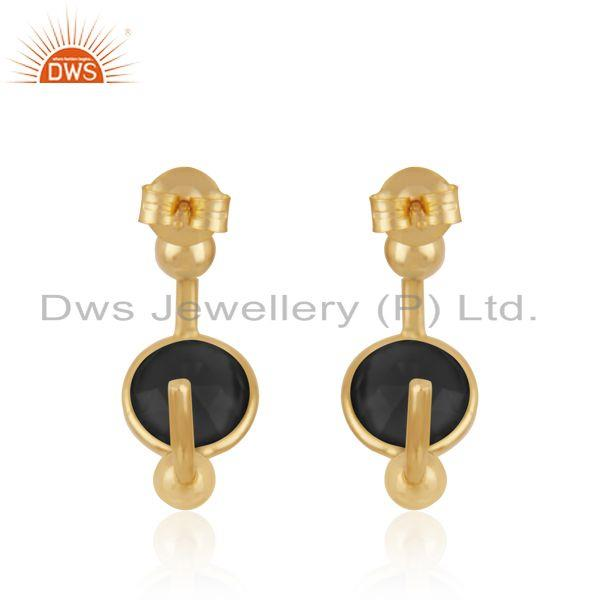 Suppliers Black Onyx Designer Silver Gold Plated Earrings Jewelry