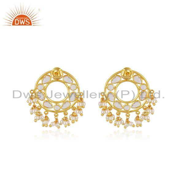 Designer of White zircon and pearl gold plated traditional earring manufacturer