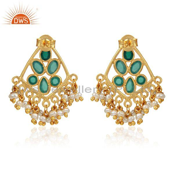 Designer of Green onyx pearl bead gemstone womens gold plated silver earrings