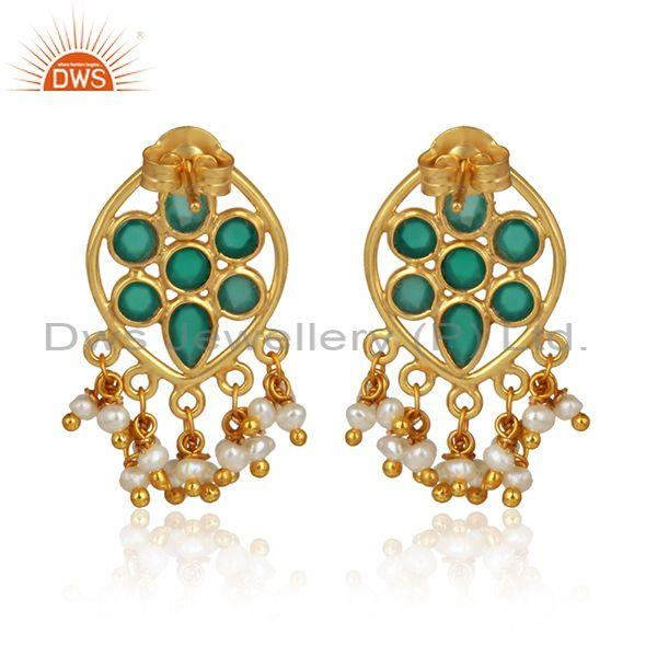 Designer of Green onyx pearl gemstone designer gold plated 925 silver earring