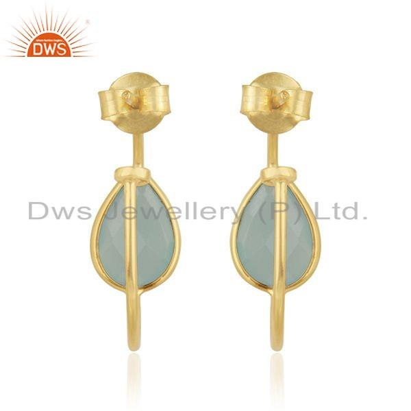 Suppliers Gold Plated 925 Silver Aqua Chalcedony Gemstone Hoop Earrings Jewelry