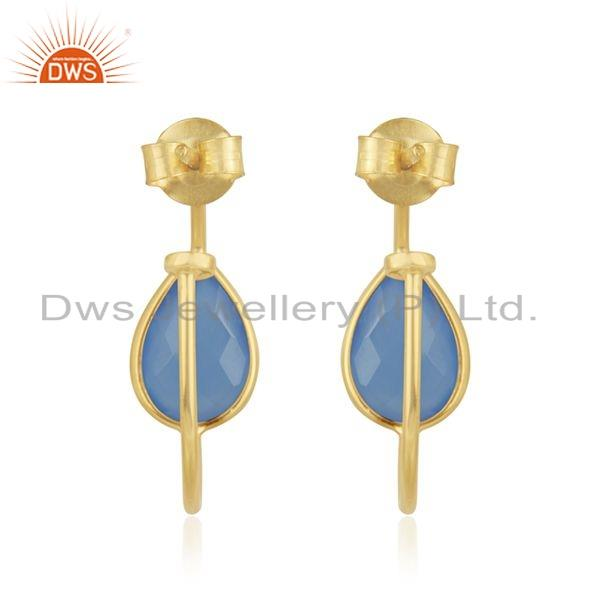 Suppliers Gold Plated 925 Silver Blue Chalcedony Gemstone Hoop Earrings Jewelry