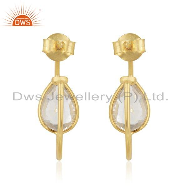 Suppliers Crystal Quartz Gemstone Gold Plated Silver Girls Hoop Earrings Jewelry