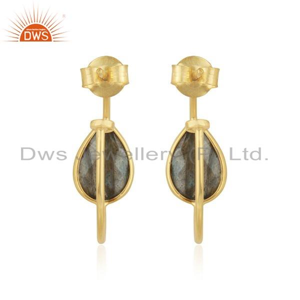 Suppliers Labradorite Gemstone Gold Plated Sterling Silver Hoop Earrings Jewelry