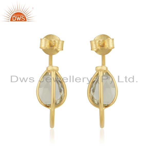 Suppliers Gold Plated 925 Silver Girls Lemon Topaz Gemstone Hoop Earring Jewelry