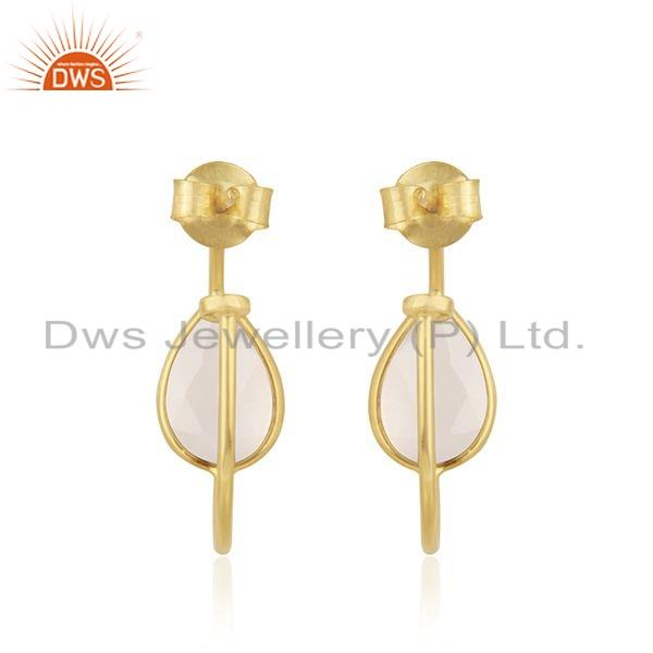 Suppliers Gold Plated 925 Silver Rose Chalcedony Gemstone Earrings Jewelry