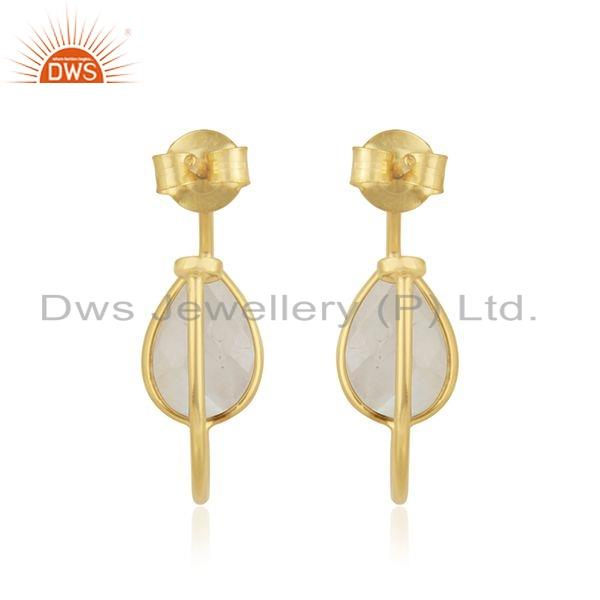 Suppliers Rainbow Moonstone Gemstone Gold Plated 925 Silver Hoop Earring Jewelry