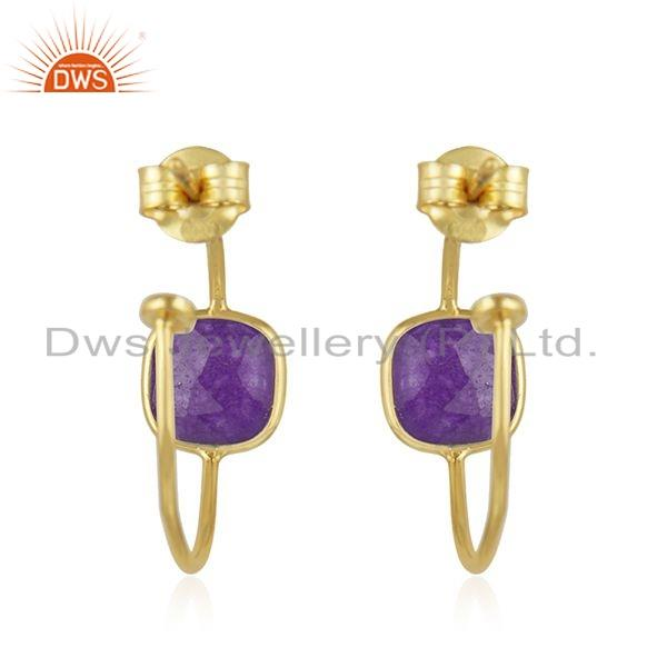 Suppliers Gold Plated 925 Silver Purple Aventurine Gemstone Hoop Earring Jewelry