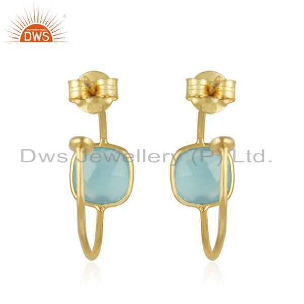 Suppliers Chalcedony Gemstone Handmade Gold Plated Silver Hoop Earrings Jewelry