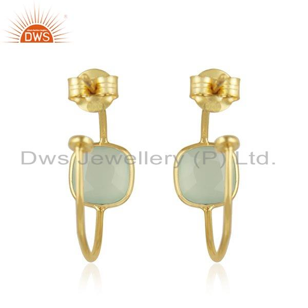 Suppliers Chalcedony Gemstone Gold Plated Silver Hoop Earrings For Girls Jewelry