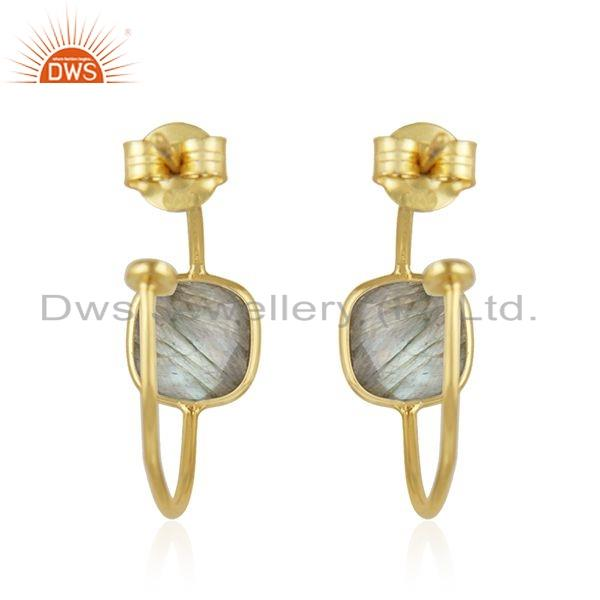 Suppliers Natural Labradorite Gemstone Hoop Earrings Gold Plated Silver Jewelry