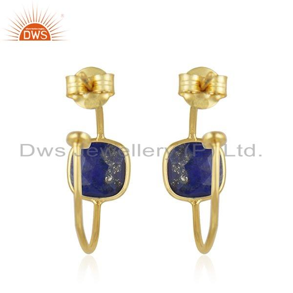 Suppliers Gold Plated Silver Natural Lapis Lazuli Gemstone Hoop Earrings Jewelry