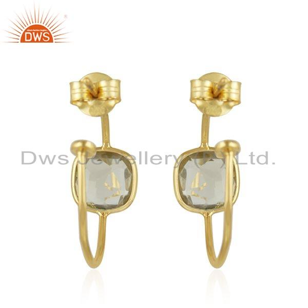 Suppliers Natural Lemon Topaz Gemstone Gold Plated 925 Silver Hoop Earrings