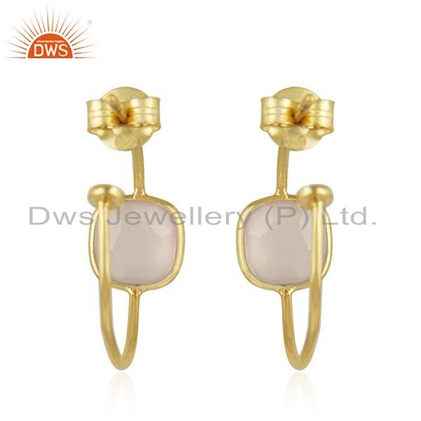 Suppliers Rose Chalcedony Gemstone Gold Plated Designer Silver Earrings Jewelry